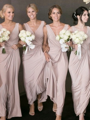 Cheap Ruched A-Line V-Neck Sleeveless Bridesmaid Dresses_1
