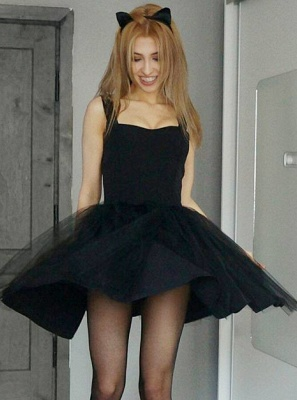 Short Straps Sheer Skirt Black Homecoming Dress_1