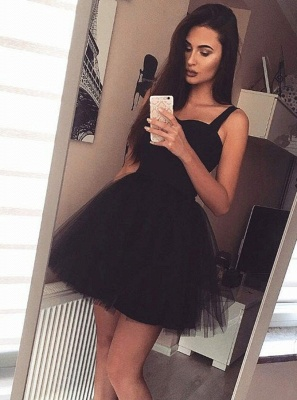 Short Straps Sheer Skirt Black Homecoming Dress_3