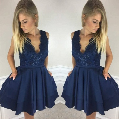 Short Lace Layers Sleeveless Homecoming Dresses_2
