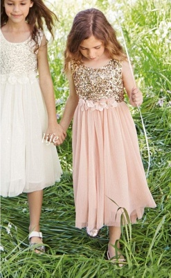 Cute A-line Straps Sleeveless Sequined Pink Flower Girl Dresses_1