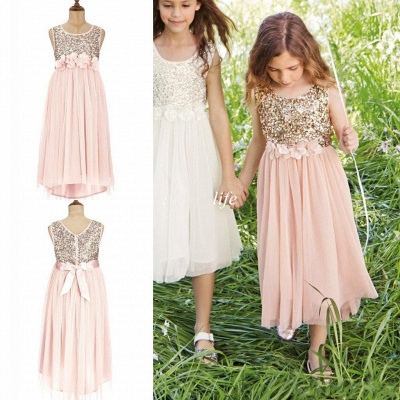 Cute A-line Straps Sleeveless Sequined Pink Flower Girl Dresses_3