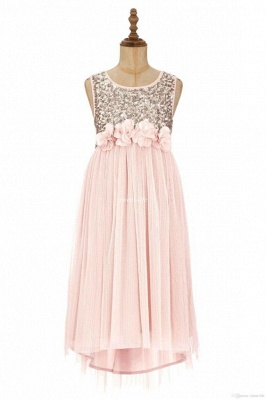 Cute A-line Straps Sleeveless Sequined Pink Flower Girl Dresses_4