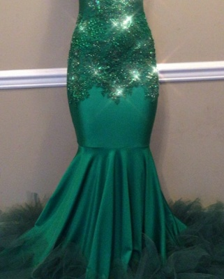 Mermaid Lace Appliques Green High-Neck Keyhole Evening Gowns_2