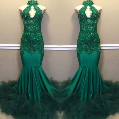 Mermaid Lace Appliques Green High-Neck Keyhole Evening Gowns_3