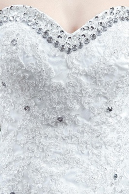 Cheap A Line Lace Beaded Sweetheart Lace Up Wedding Gowns_3