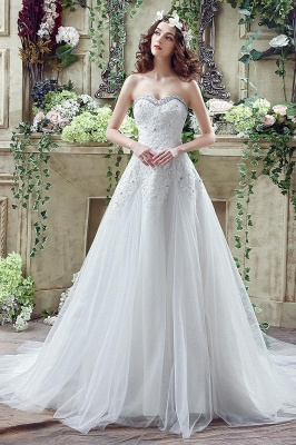Cheap A Line Lace Beaded Sweetheart Lace Up Wedding Gowns_1
