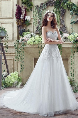 Cheap A Line Lace Beaded Sweetheart Lace Up Wedding Gowns_7