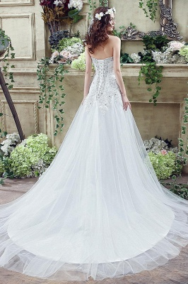 Cheap A Line Lace Beaded Sweetheart Lace Up Wedding Gowns_5