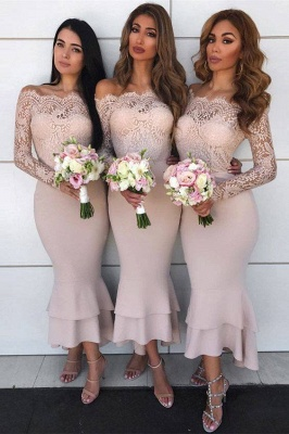 Pink Off the Shoulder Mermaid Lace Bridesmaid Dresses_1