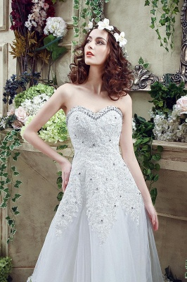 Cheap A Line Lace Beaded Sweetheart Lace Up Wedding Gowns_6