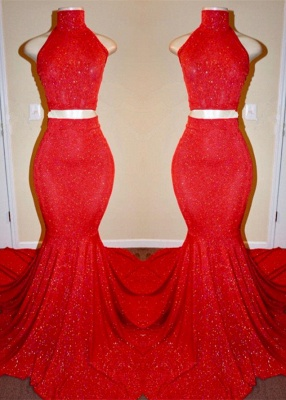 Sexy Mermaid Long Two Pieces Red Prom Dresses_1