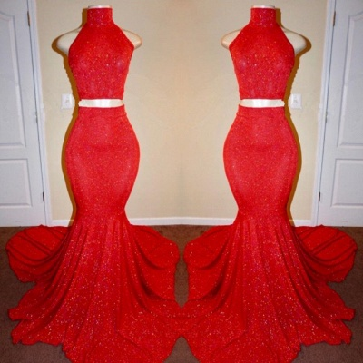 Sexy Mermaid Long Two Pieces Red Prom Dresses_2