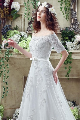 Cheap A Line Off the Shoulder Half Sleeves Lace Bridal Dresses_6