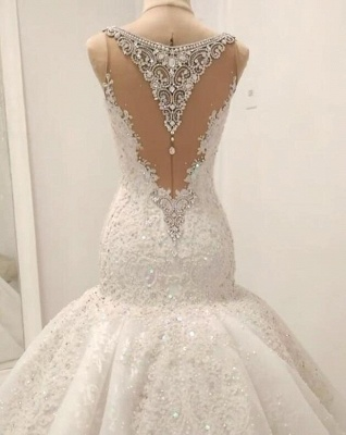 White Mermaid Sequins Sleeveless Bridal Gowns With Appliques_3