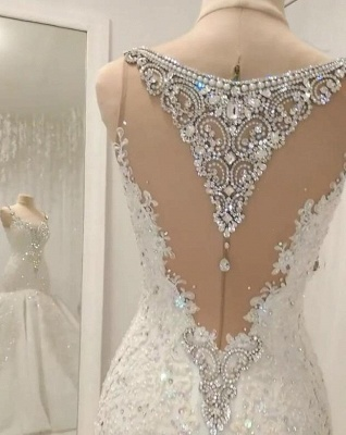 White Mermaid Sequins Sleeveless Bridal Gowns With Appliques_2
