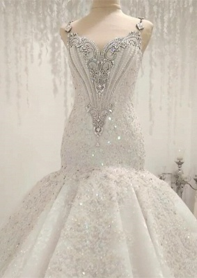 White Mermaid Sequins Sleeveless Bridal Gowns With Appliques_1