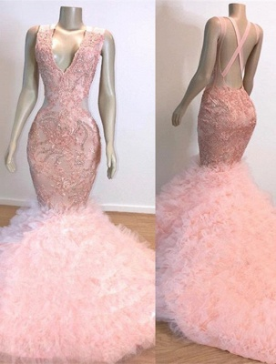 Mermaid Lace Tulle Pink V-Neck Evening Gowns_1