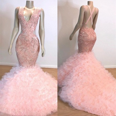 Mermaid Lace Tulle Pink V-Neck Evening Gowns_2