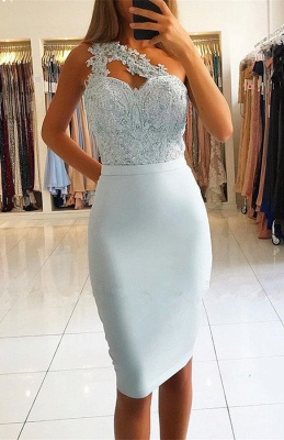 Lace One Shoulder Mermaid Short Homecoming Dresses_1