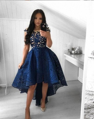 High Low Navy Blue Lace Homecoming Dresses Prom Dress_2