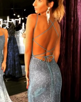 Mermaid Long Spaghetti-Straps Sequin Evening Gowns_1