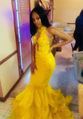 High-Neck Mermaid Lace Sequins Yellow Prom Dresses_1