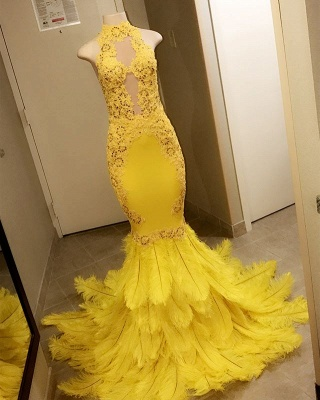 High-Neck Mermaid Lace Sequins Yellow Prom Dresses_2