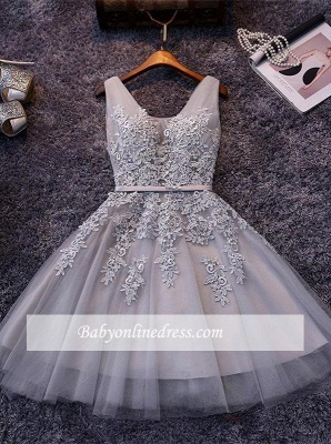 Elegant Silver Homecoming Dresses Lace Beaded  Puffy Hoco Dress_7