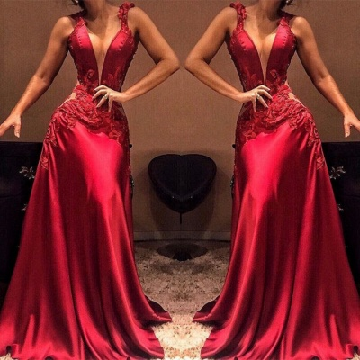 Sexy Sleeveless Long Appliques Mermaid Prom Dresses V-Neck_2