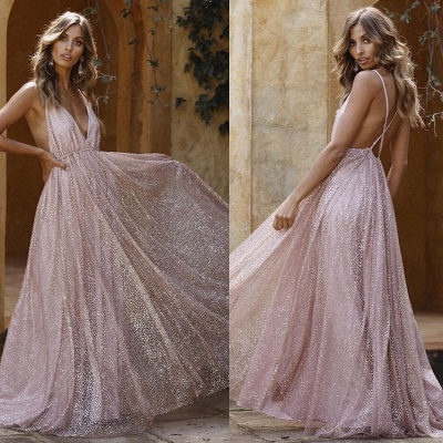 A-Line Spaghetti Straps Backless Pink Sequins Prom Dresses_2