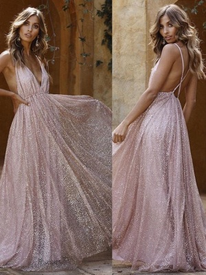 A-Line Spaghetti Straps Backless Pink Sequins Prom Dresses_1